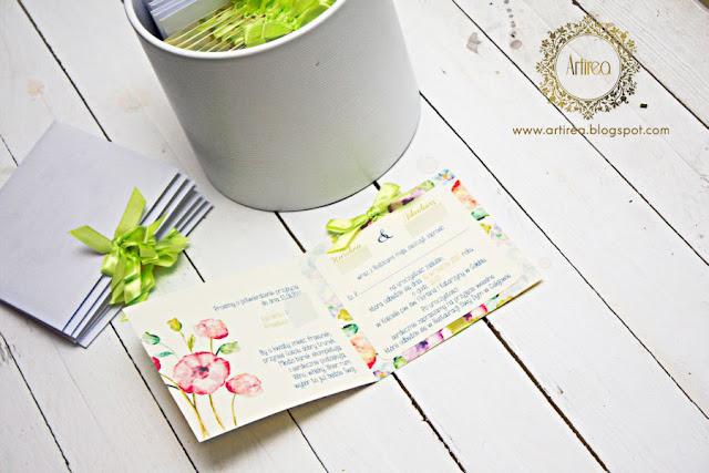 Limonkowe zaproszenia ślubne Artirea