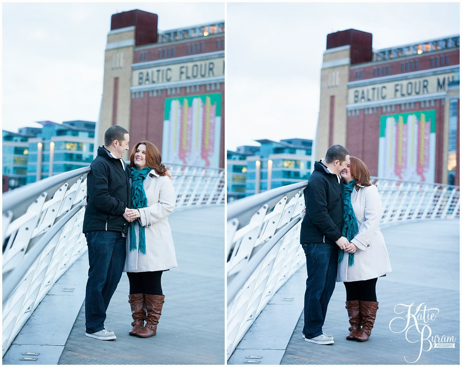 the baltic newcastle wedding, newcastle quayside engagement, newcastle pre-wedding shoot, newcastle quayside portraits, tyne bride engagement, christmas in newcastle, fenwicks window, millenium bridge engagement, pitcher and piano newcastle, olive and bean cafe, the baltic wedding, newcastle wedding photographer, katie byram photography