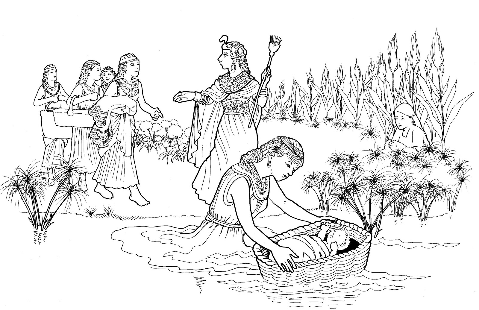 moses in bulrushes coloring pages - photo#5
