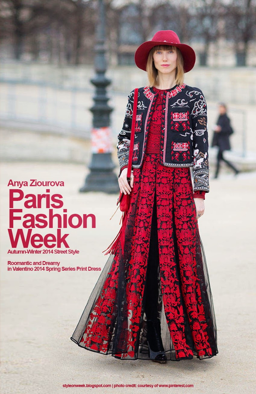 Paris Fashion Week Autumn-Winter 2014 Street Style - Roomantic and Dreamy in Valentino 2014 Spring Series Print Dress