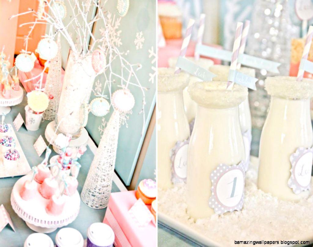 Karas Party Ideas Winter Wonderland Girl Snow 1st Birthday Party