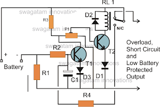low battery cut off and overload protection circuit circuit diagram rh diagramnovo blogspot com Simple Electrical Circuit Diagram Circuit Diagram Symbols Connectors