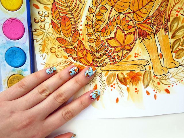 Jesienne lisy jak malowane - dwa urocze zdobienia paznokci i kolorowanka
