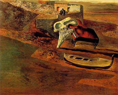 Cráneo atmosférico sodomizando a un piano de cola de Dalí