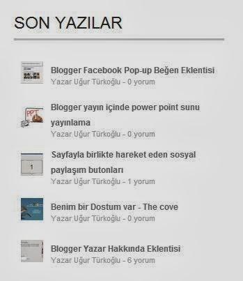 blogger son yazılar eklentisi