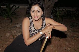 Anjana Deshpandey in lovely Flower Print Skin Colored Deep Neck Tank Top Black Skirt