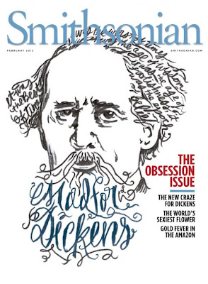 Smithsonian cover with image of Charles Dickens, with his hair and beard made out of scrawled words