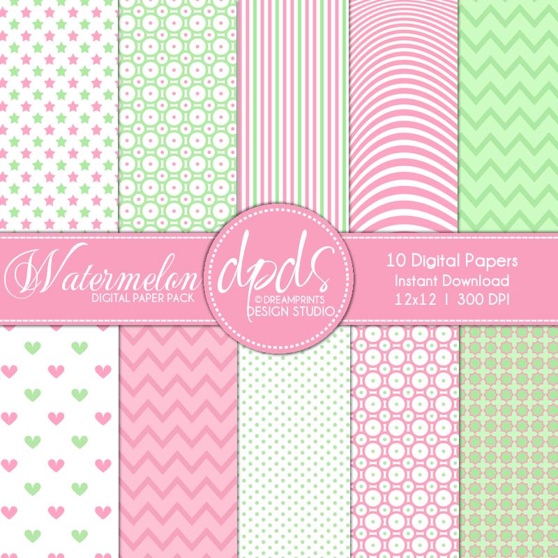 dream prints free digital paper pack watermelon 12x12 300 dpi