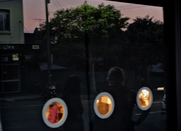 Porthole windows, Timber, Wire, Tire solo exhibition by Mark Swartz, Plump Gallery - 240 Enmore Road, Sydney