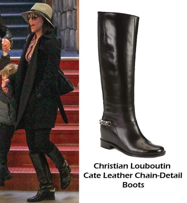 Paula Patton In Christian Louboutin Boots For Family Stroll