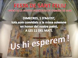1 d'agost 2012. A les 11h. a l'Església de Sant Feliu Missa Solemne concelebrada.