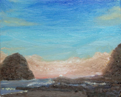 oil painting miniature Oregon Cape Kiwanda approaching fog bank at sunset