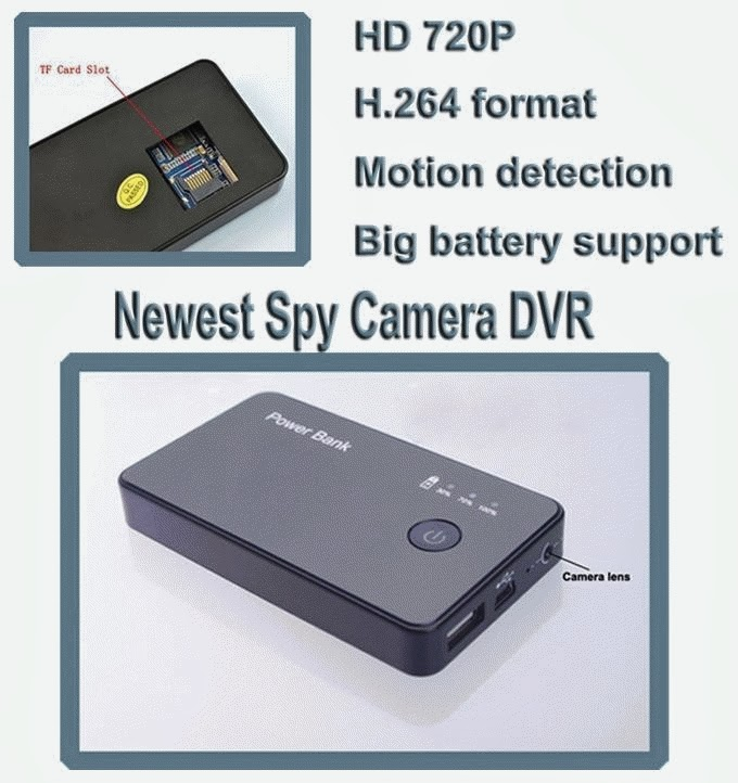 Spy Cam Power Bank 3000 mAh HD DVR Motion Detection  rekam 8 Jam c