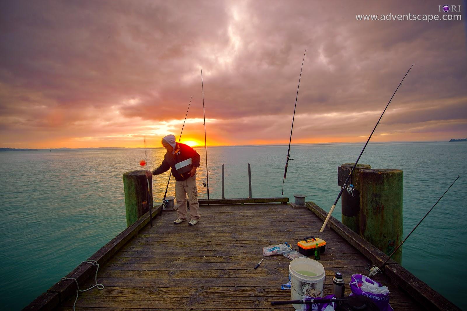 Philip Avellana, iori, adventscape, Cornwallis, jetty, seascape, landscape, North Island, New Zealand, fine art, sunrise, fisherman, fishing rod