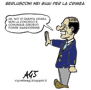 Berlusconi, Ucraina, Crimea, vignetta satira