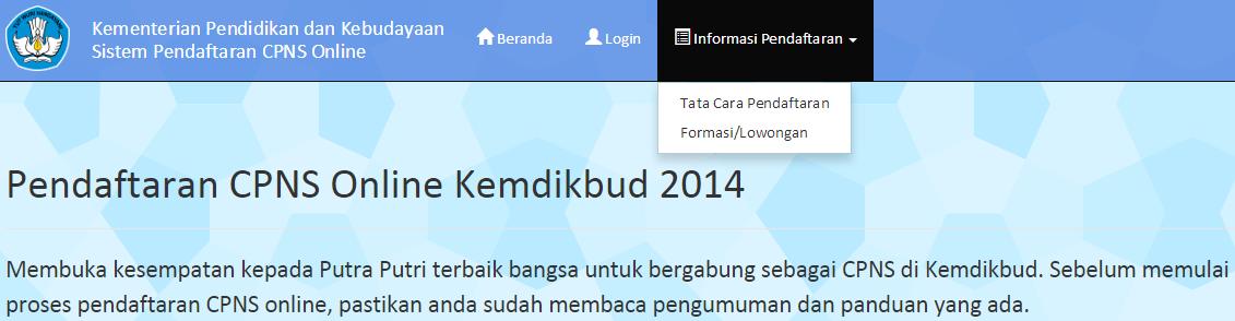 Pendaftaran Online CPNS Kementrian Pendidikan Kebudayaan KEMENDIKBUD 2014