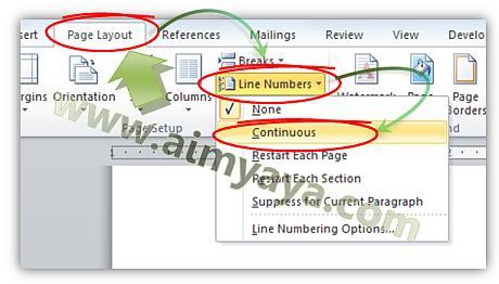 Gambar: Cara membuat nomor baris otomatis
