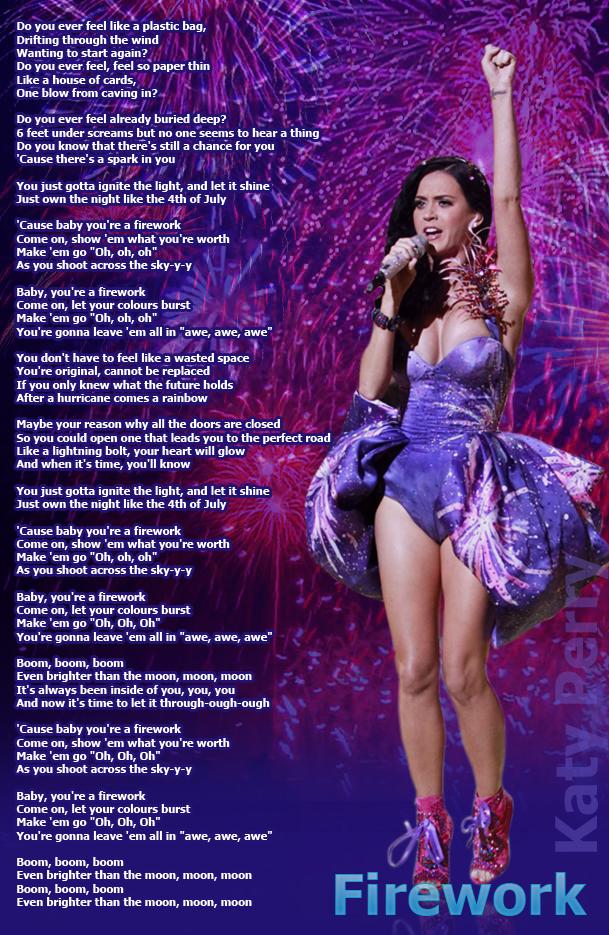July 2013 | Lyrics Pic... Katy Perry Fireworks Song