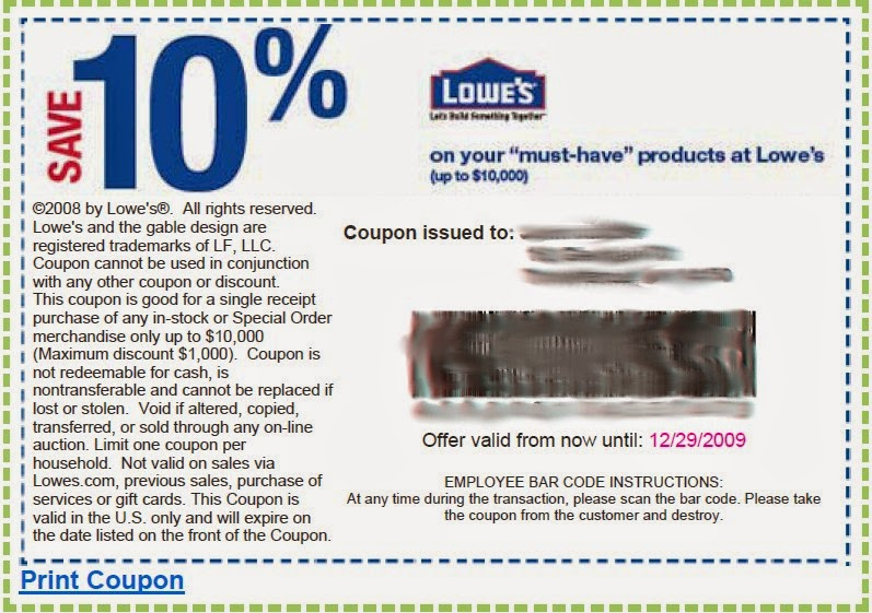 photograph regarding Lowes 10% Printable Coupon called Coupon codes for lowes
