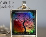 Tree with Rainbow Sunset Silver Pendant with Necklace