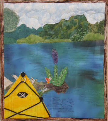 August's Landscape Art Quilt - Yellow Kayak