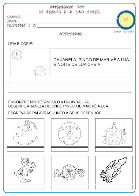 Atividade Língua Portuguesa  Projeto Mary França Educação Infantil/ Livro Lua Cheia