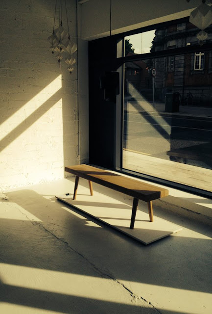 M.E. Engel's plank bench on display at Nordic Makers