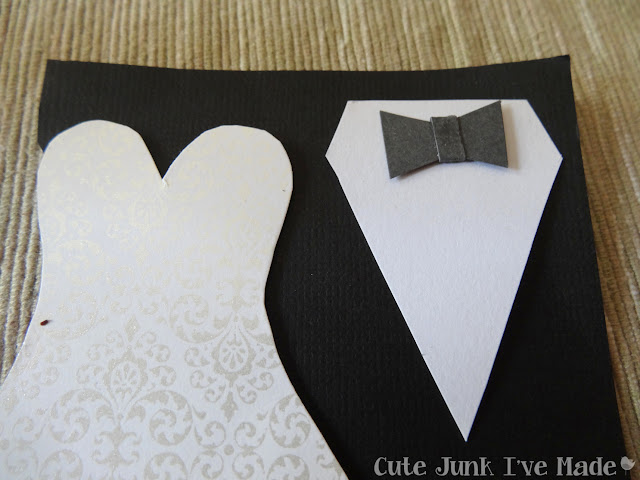 Homemade Wedding Card - bowtie glued on