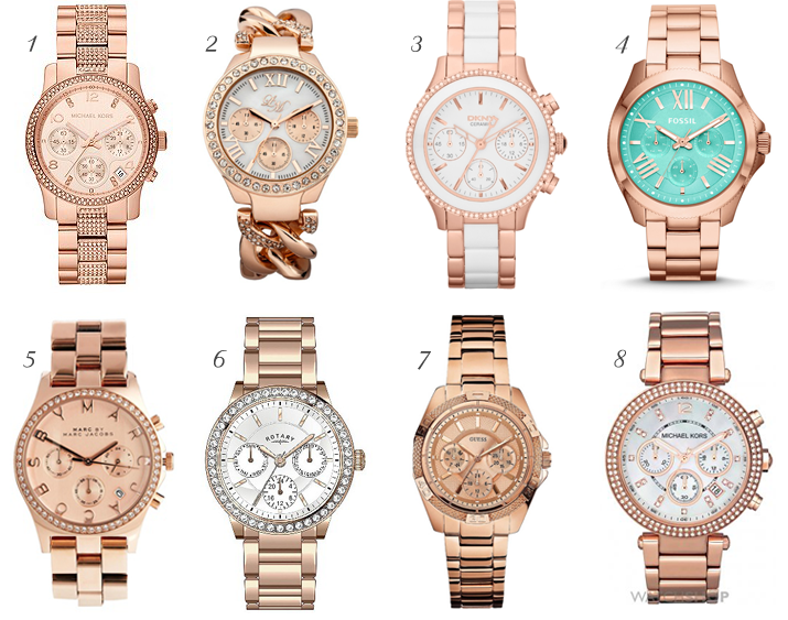 Best Rose Gold Watches SS14, Rose Gold watches for spring, pretty rose gold watch, michael kors rose gold watch, fossil rose gold watch, rotary rose gold watch, Marc jacobs rose gold watch, dkny rose gold watch.
