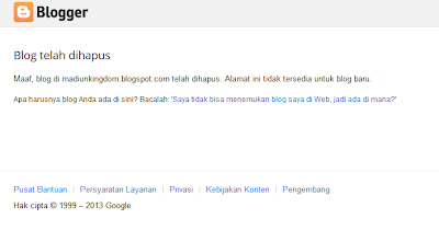 Blog Madiunkingdom.blogspot.com dihapus oleh Google
