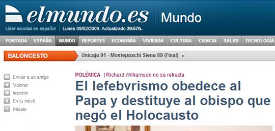El lefebvrismo obedece al Papa y destituye al obispo que negó el Holocausto