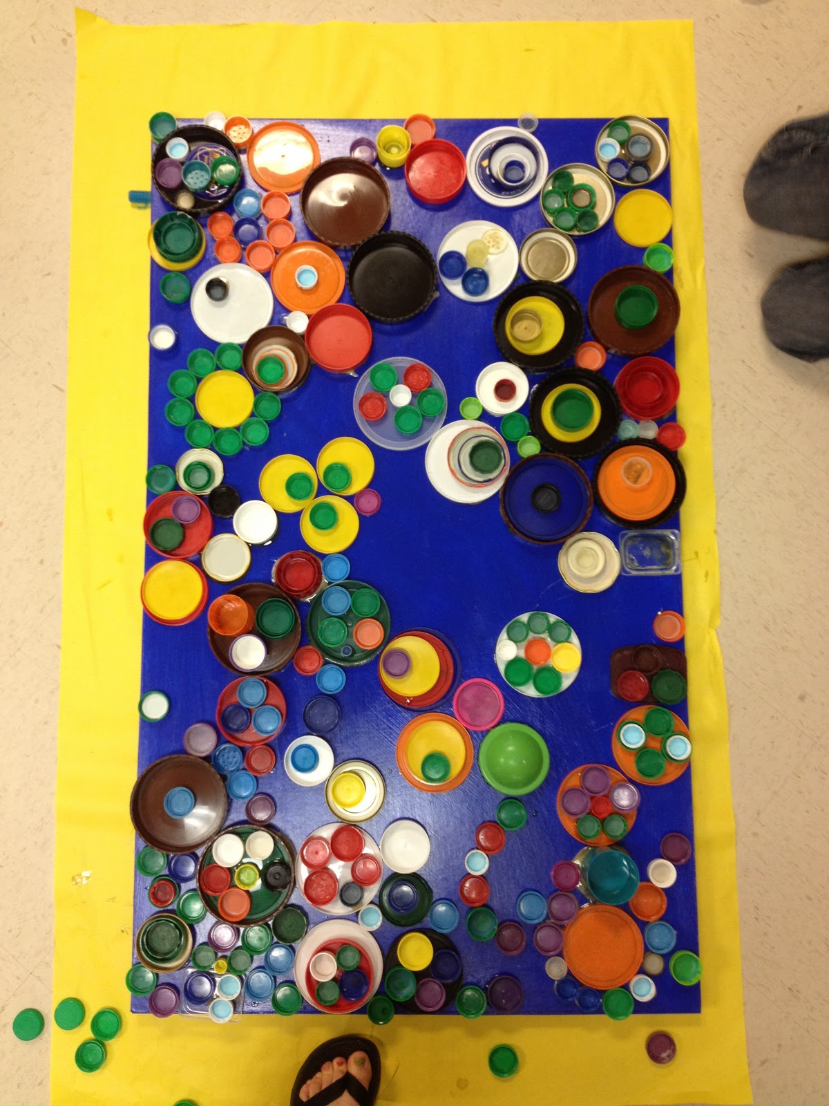 Candice ashment art reduce reuse recycle bottle lids for Recycled wall art ideas