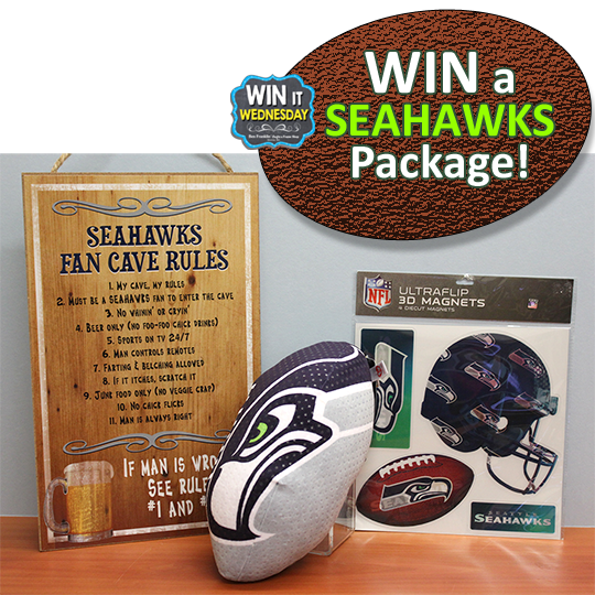 Our Facebook Giveaway is this Seattle Seahawks Package!