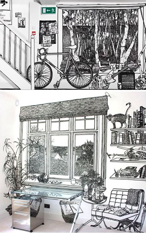 Decoración de paredes con dibujos | Blanco y negro con estilo