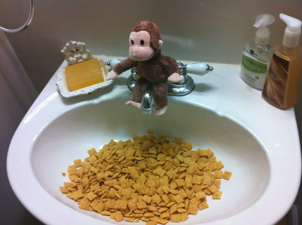 Curious George aka Elf on Shelf thought it would be fun to dive into a sink. Bathroom Wall Cabinets And Shelves