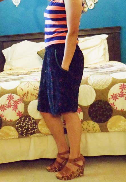 FLOWERED SKIRT, STRIPED SHIRT