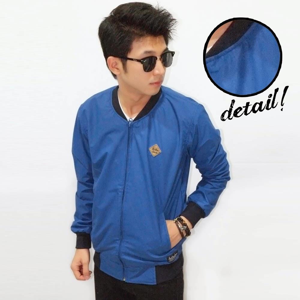 Jacket Varsity Leather Blue Doff