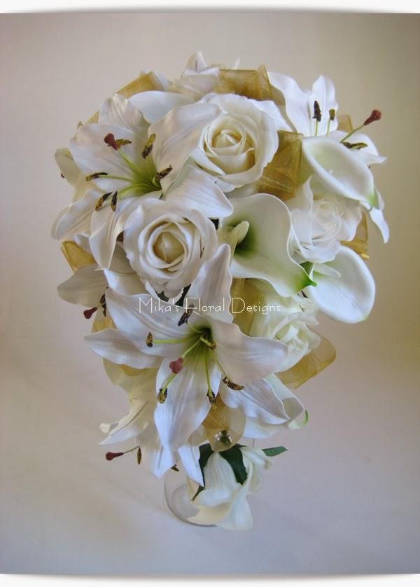 Silk Wedding Flowers 23 Cute Teardrop Bouquet of Rose