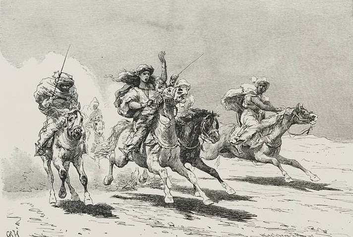 Black and white painting of warriors riding horses