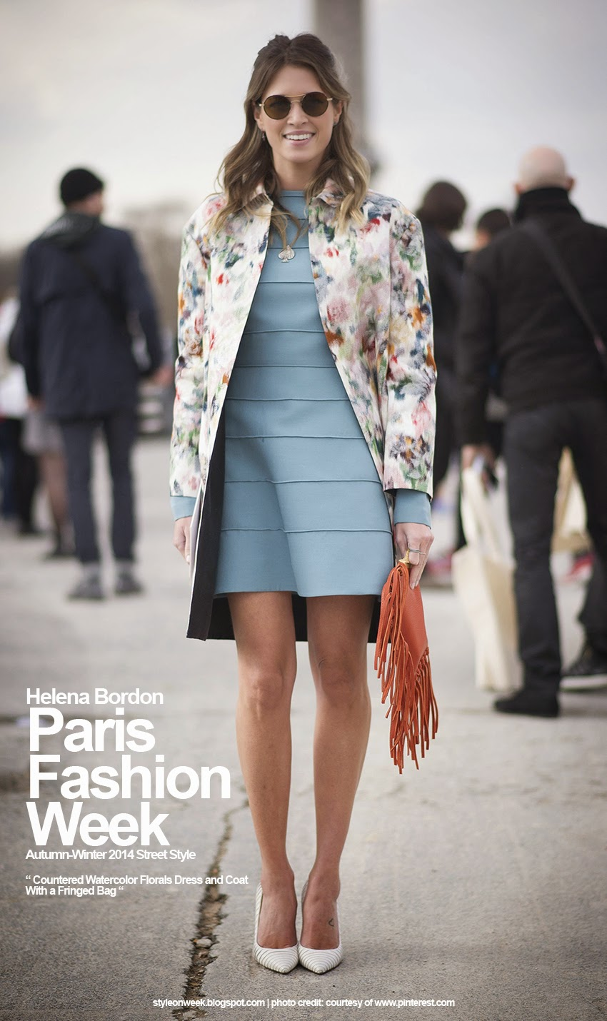Paris Fashion Week Autumn-Winter 2014 Street Style - Countered Watercolor Florals Dress and Coat With a Fringed Bag