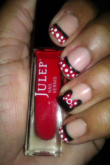Disney, Disneyland, Minnie Mouse, Julep January, red, white polka dot, french tip, frenchie, nail art, nail design, mani
