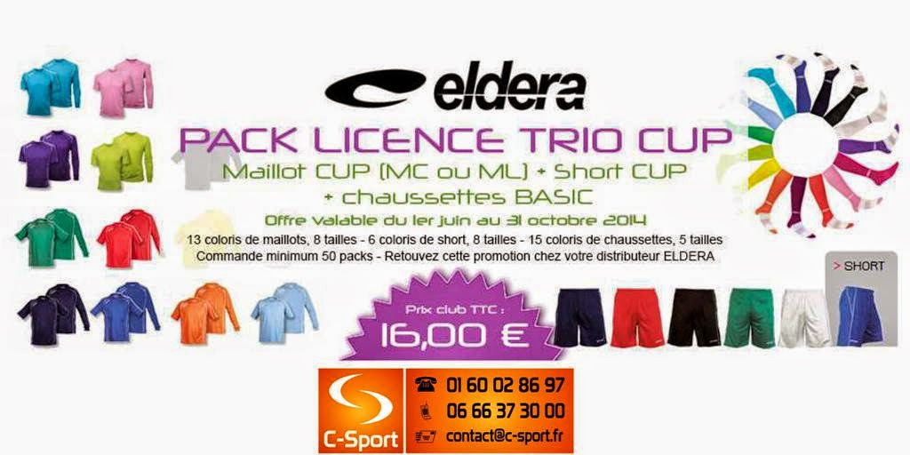 PACK TRIO CUP = Maillot CUP (MC ou ML) + Short CUP + Chaussettes BASIC = 16 €