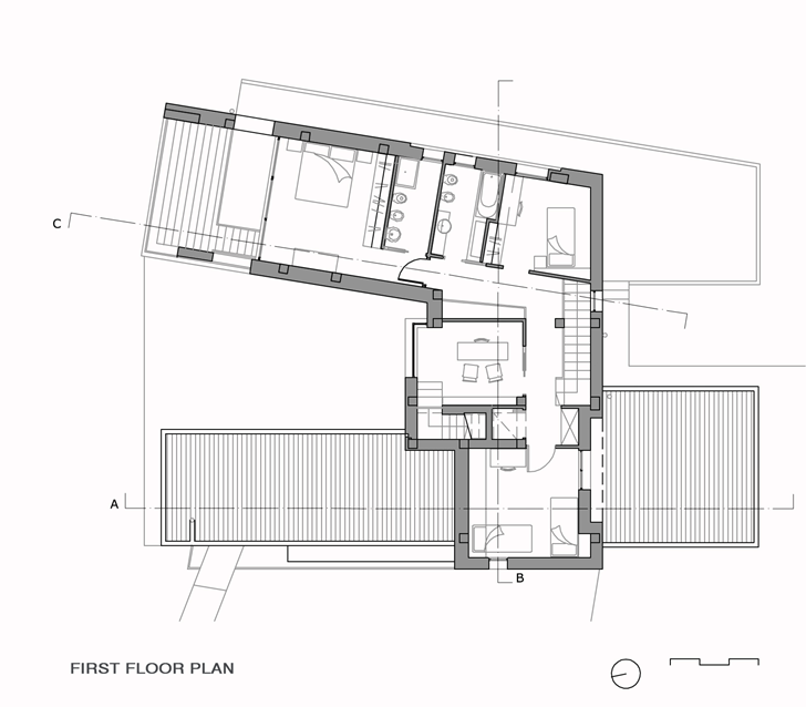 First floor plan of Modern villa Di Gioia by Pedone Working