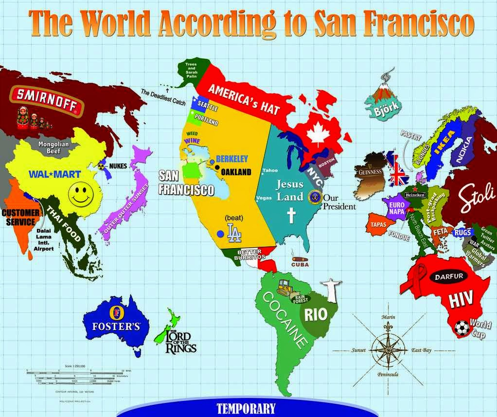 The stereotype map shows the world according to san franciscans i am