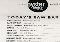 Oyster House Menu