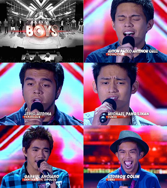The X Factor Philippines Top 20 Boys - Anton AntenorCruz, Jeric Medina, Michael Pangilinan, Gabriel Anciano Maturan, and Kedebon Colim