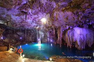 mexico cave cenote yucatan swim water stalactite