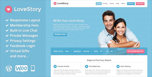 LoveStory v1.9 - Themeforest Dating WordPress Theme