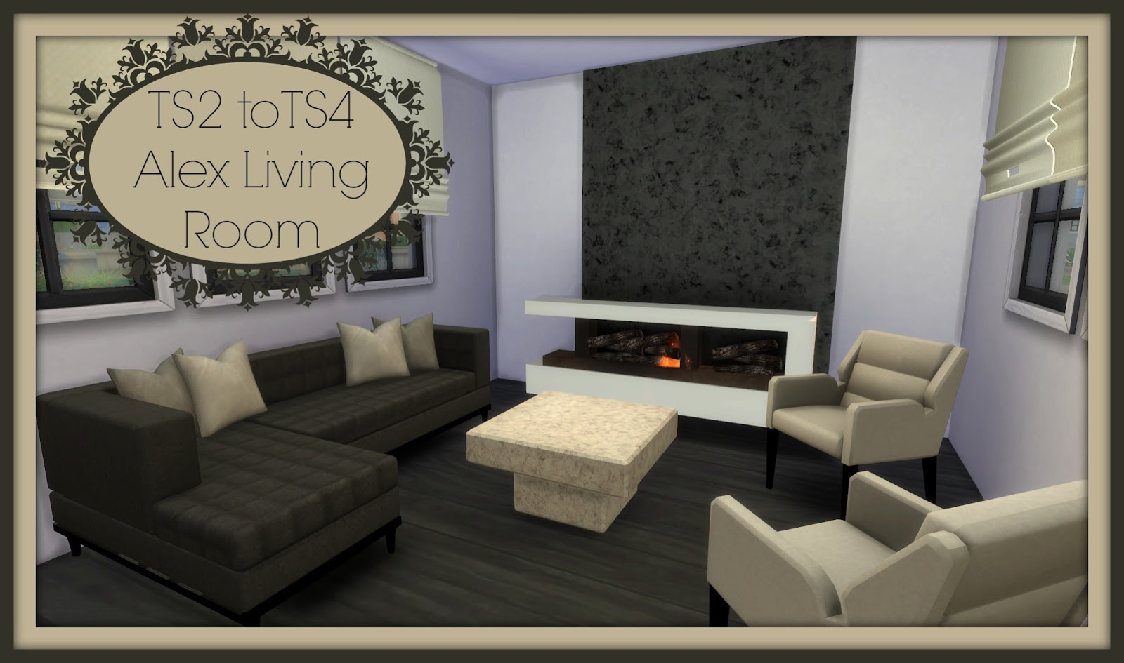 Sims 4 ts2 to ts4 alex living room dinha for Modern living room sims 4