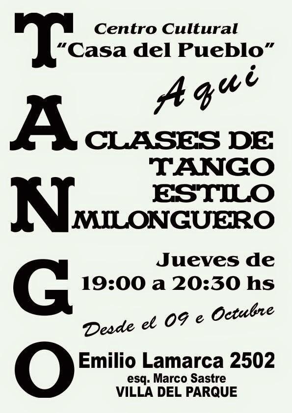 Taller de Tango - Jueves de 19 a 20,30 hs